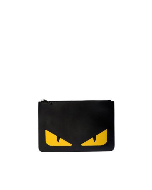 Fendi Bag Bugs Clutch Bag In Black Leather for men