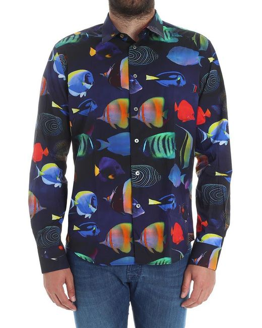 Paul Smith - Blue Shirt With Tropical Fish Print for Men - Lyst
