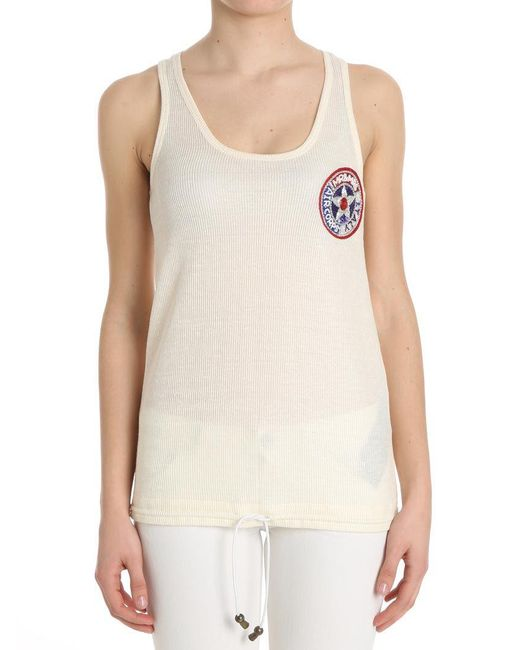 Mr & Mrs Italy - Natural Cream-colored Ribbed Top With Chest Patch - Lyst