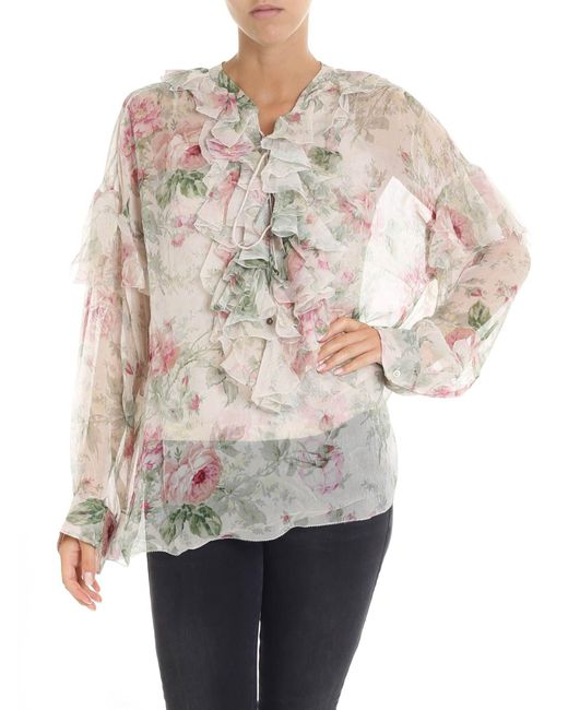 Polo Ralph Lauren - Natural Floral Print Beige Blouse With Ruffled Details - Lyst