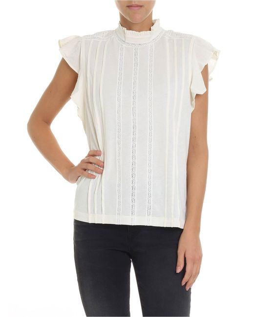 Polo Ralph Lauren - Natural Cream-colored Top With Lace Inserts - Lyst