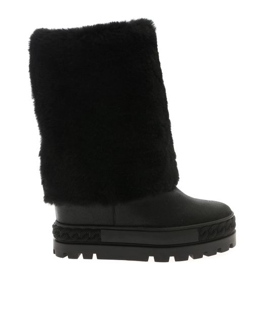 Casadei - Black Leather Double Boots - Lyst