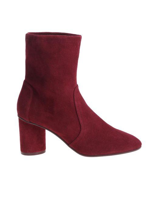 Stuart Weitzman - Purple Margot 75 Burgundy Ankle Boots - Lyst