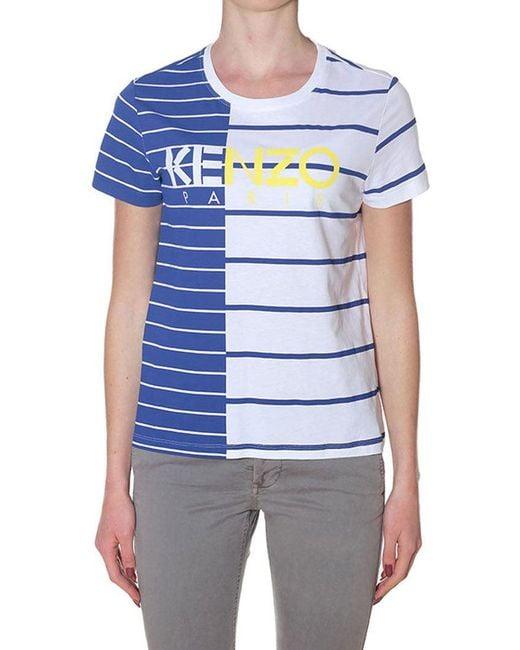 KENZO - White And Blue Stripe Paris T-shirt - Lyst