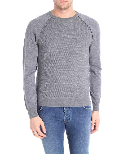 Paolo Pecora - Gray Pullover With Knitted Effect for Men - Lyst