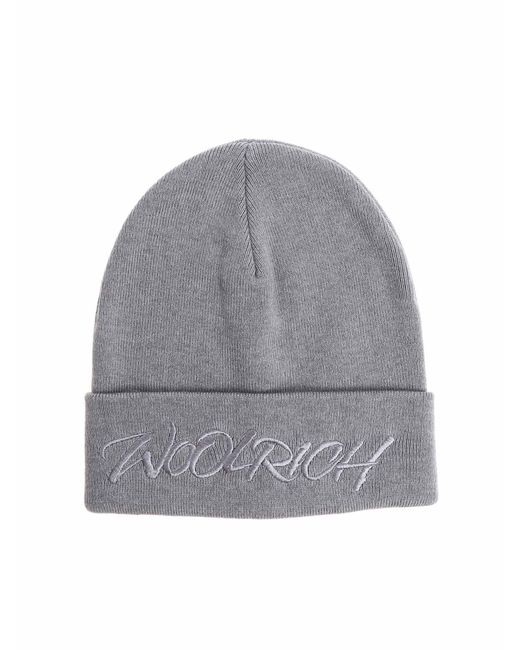Woolrich - Gray Beanie With Embroidered Logo for Men - Lyst
