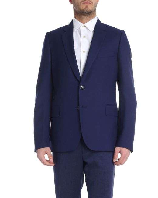 864a0b1c5 Paul Smith Blue Wool Single-breasted Jacket in Blue for Men - Lyst