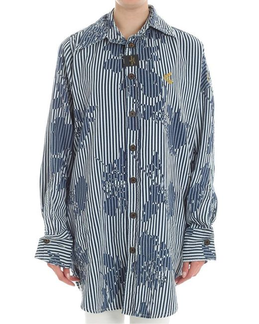 Vivienne Westwood Anglomania - Blue Chaos Chambray Maxi Shirt - Lyst