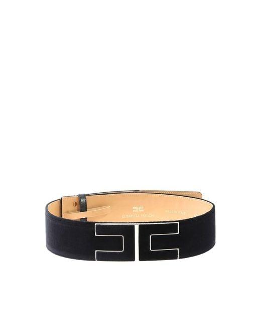 Elisabetta Franchi - Black Belt With Logo - Lyst