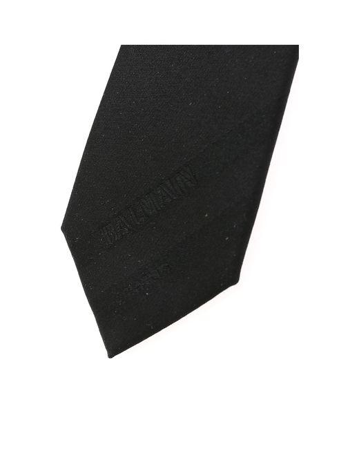 Balmain Black Silk Tie With Logo for men