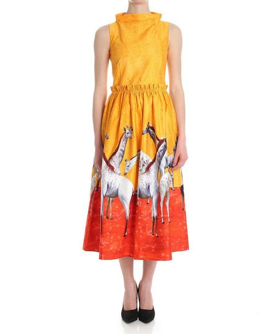 Stella Jean - Yellow And Red Dress With Giraffe Prints - Lyst