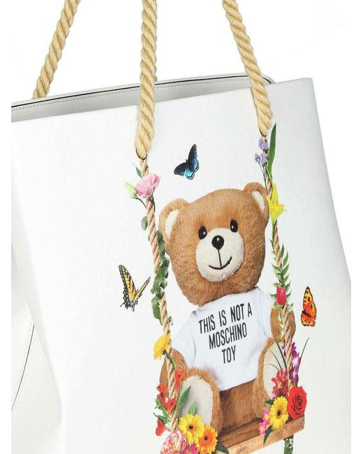 White Teddy Bear floral shoulder bag Moschino jpr0tql