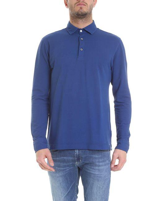 Drumohr Light Blue Cotton Polo Shirt for men