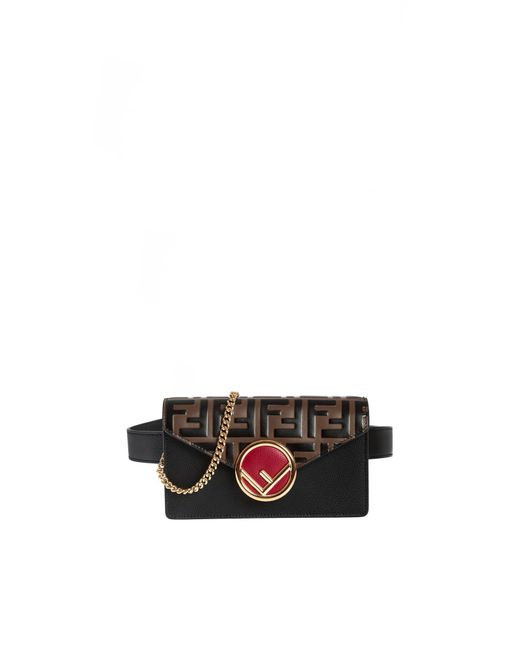 Fendi Belt Bag In Black With Ff Flap