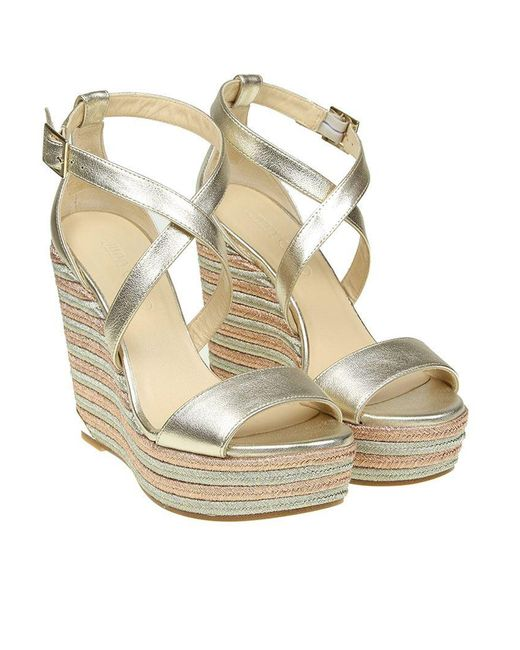 Jimmy Choo - Metallic Portia Wedge Sandals - Lyst