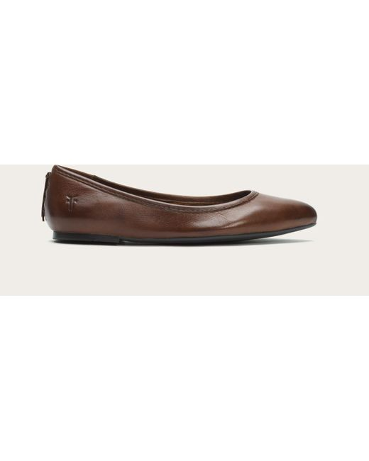 Frye | Brown Regina Pointed-toe Leather Ballet Flats | Lyst