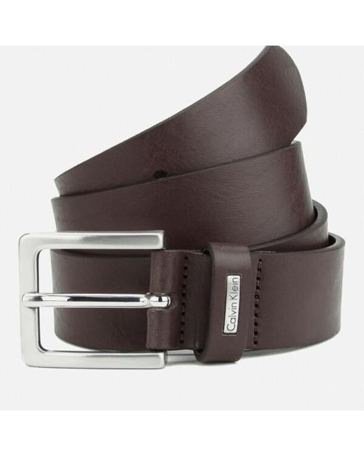 calvin klein mino mino leather belt in brown for lyst