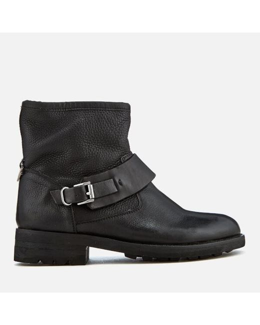 H by Hudson | Black Mac Leather Biker Boots | Lyst