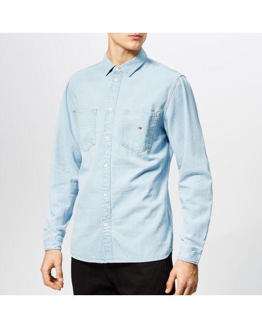4be6b3f2 Tommy Hilfiger - Blue Denim Pocket Shirt for Men - Lyst ...