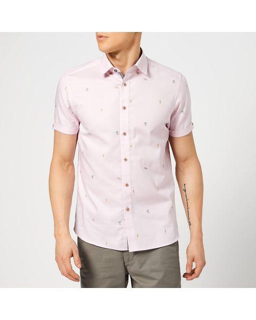 d486c633db2b Ted Baker - Pink Seacucu Short Sleeve Shirt for Men - Lyst ...