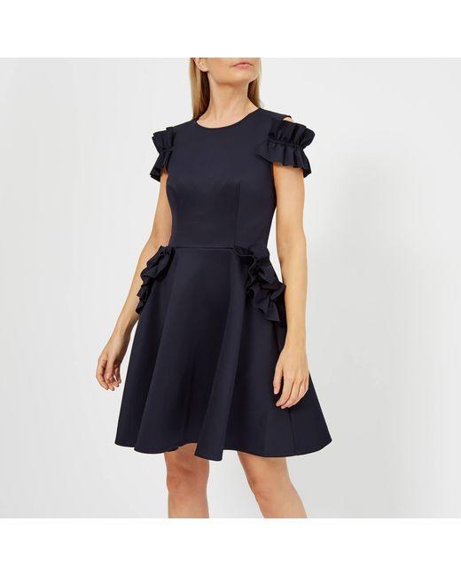 2d6300651df75 Ted Baker - Blue Deneese Ruffle Detail Dress - Lyst ...