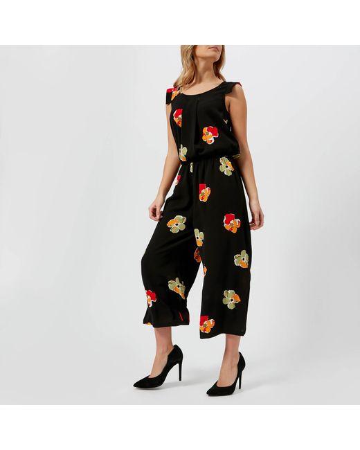 Armani Exchange - Black Floral Print Jumpsuit - Lyst