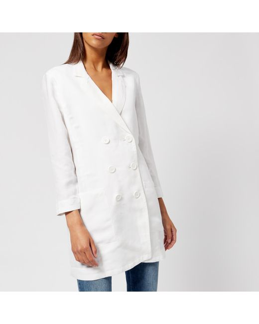 Armani Exchange - White Double Breasted Blazer - Lyst