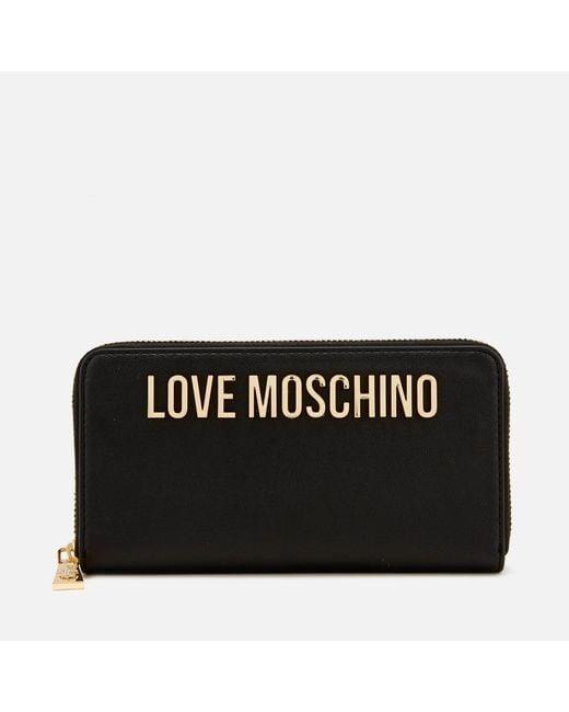 Love Moschino - Black Classic Logo Zip Around Purse - Lyst
