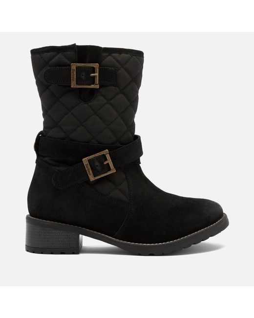 Barbour - Black Barnes Waxy Suede Quilted Mid Boots - Lyst