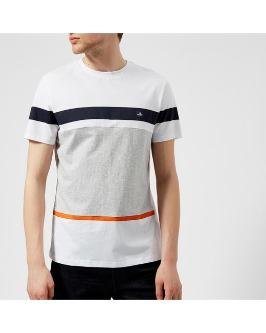Aquascutum - White Roeburn Block Colour Stripe T-shirt for Men - Lyst