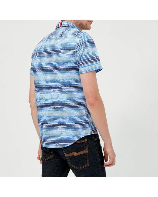 f3b5f164 ... Tommy Hilfiger - Blue Watercolour Stripe Short Sleeve Shirt for Men -  Lyst ...