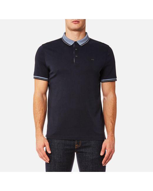 Michael Kors | Blue Greenwich Logo Jacquard Short Sleeve Polo Shirt for Men | Lyst