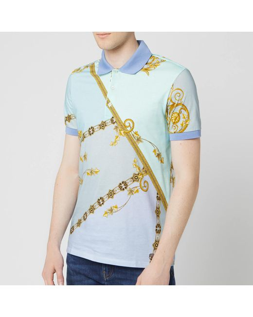 b7ecf4c55 Versace - Blue All Over Print Polo Shirt for Men - Lyst ...