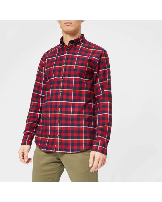 71d81bf514ee Tommy Hilfiger - Red Gingham With A Twist Shirt for Men - Lyst ...