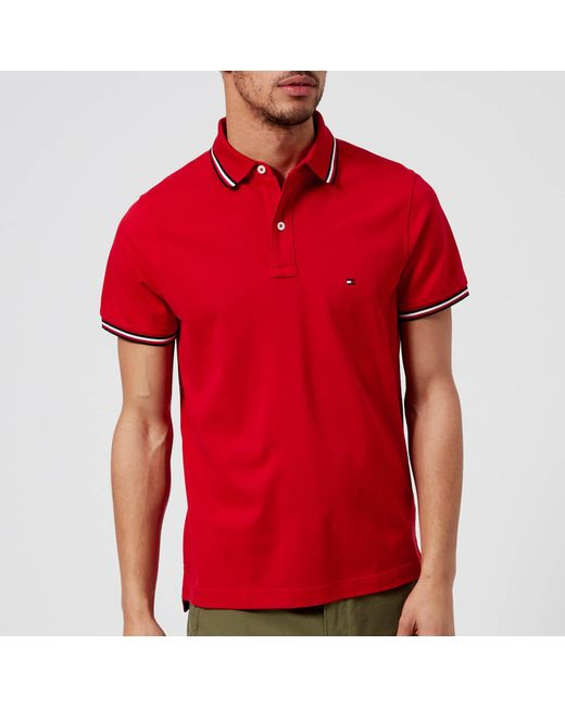 Tommy Hilfiger - Red Tommy Tipped Slim Polo Shirt for Men - Lyst ...