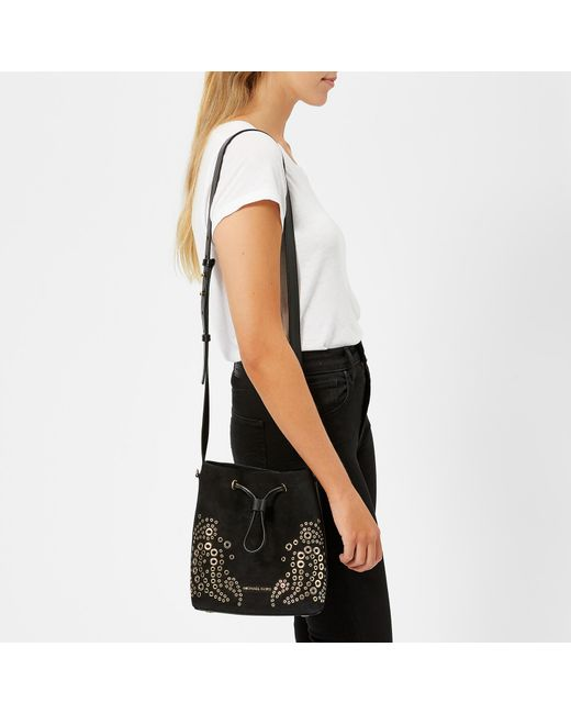 4cb373062abe ... MICHAEL Michael Kors - Black Cary Small Bucket Bag With Paisely Grommit  Studs - Lyst ...
