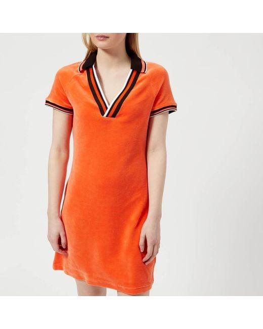 Juicy Couture - Orange Stretch Velour Polo Dress - Lyst ... d4c0c3f14