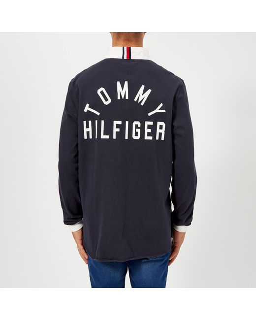 d342f2ad ... Tommy Hilfiger - Blue Relaxed Back Logo Rugby Shirt for Men - Lyst ...