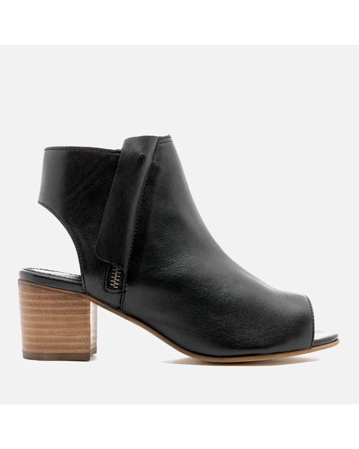 Dune | Black Joanna Peep Toe Leather Ankle Boots | Lyst
