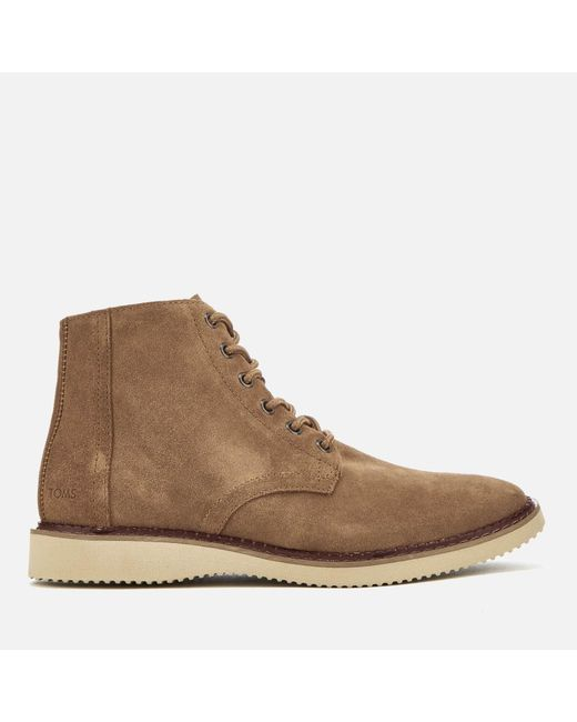 53a1e64ec1f TOMS - Brown Porter Suede Lace Up Boots for Men - Lyst ...