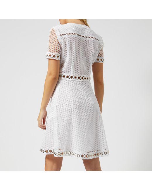 f33fe54fa35 ... MICHAEL Michael Kors - White Lace Combo Dress - Lyst ...