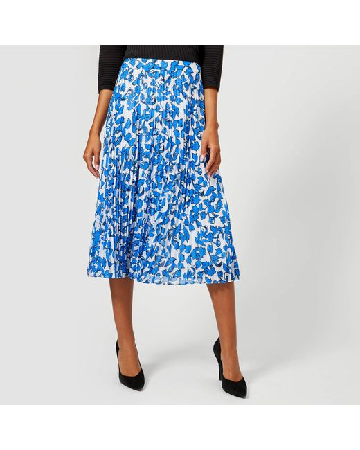 acbe55578ace Whistles Cordillia Print Pleated Skirt in Blue - Save 41% - Lyst
