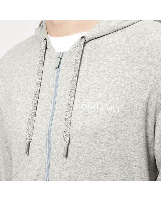 b4362def7850 ... Calvin Klein - Gray Full Zip Lounge Hoodie for Men - Lyst