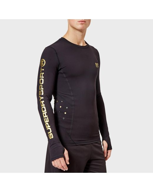 e2b525c482f6 Superdry - Black Performance Compression Long Sleeve Top for Men - Lyst ...
