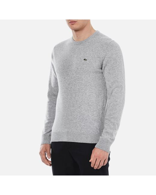 Lacoste - Gray Basic Crew Knitted Jumper for Men - Lyst