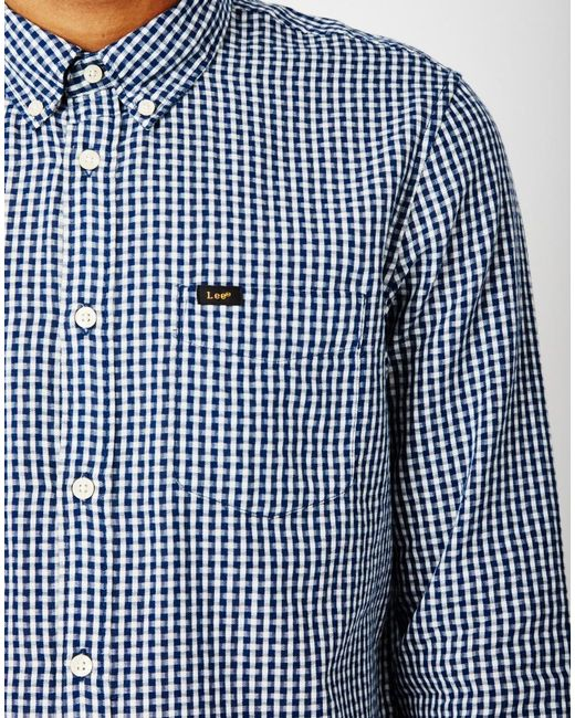 Lee jeans button down shirt in indigo chambray in blue for for Indigo button down shirt