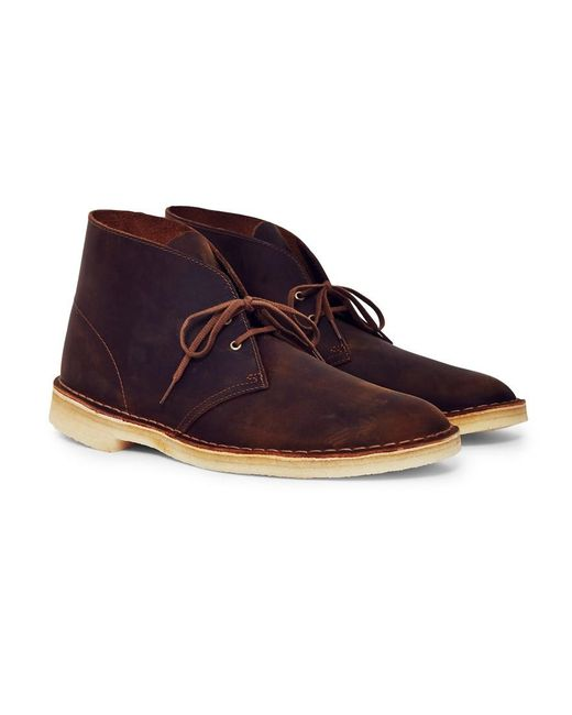 clarks leather desert boot brown in brown for lyst