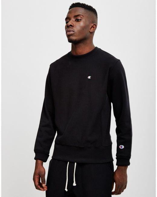 Champion | Reverse Weave Crew Neck Sweatshirt Black for Men | Lyst