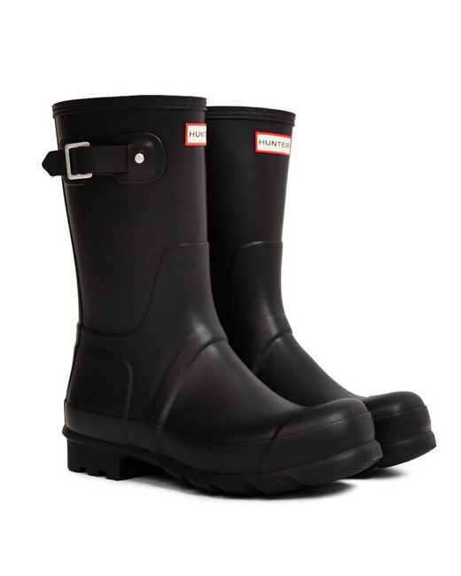 Hunter - Original Short Rain Boot Black for Men - Lyst