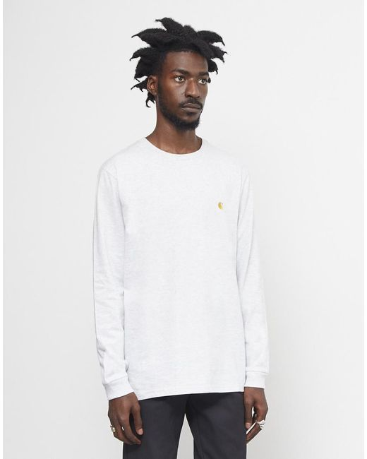 Carhartt WIP - Gray Long Sleeve Chase T-shirt Grey for Men - Lyst